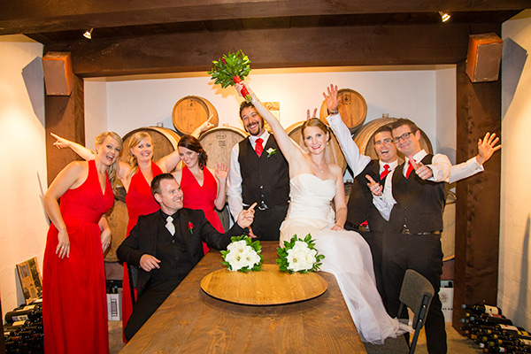 wedding party in the wine cellar